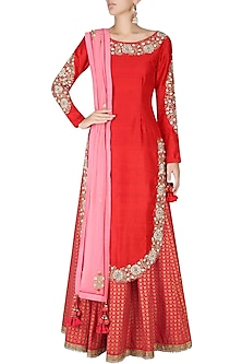 Krishna Red Embroidered Kurta with Printed Lehenga and Embellished Dupatta by Nikasha