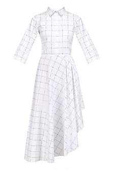 White Checkered Shirt Dress by Nishka Lulla