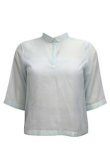 Light blue PK polo style shimmer t-shirt by Nishka Lulla
