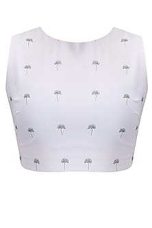 Light grey lantana printed sleeveless croptop by Nishka Lulla