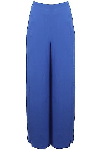 Classic blue high waisted front slit palazzo pants by Nishka Lulla