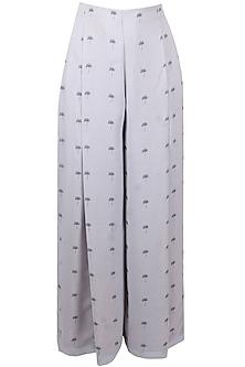 Light grey lantana printed high waisted palazzo pants by Nishka Lulla