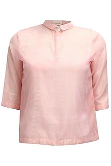 Pink PK polo style shimmer t-shirt by Nishka Lulla