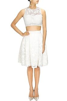 White Leather Applique Work Skirt by Nishka Lulla