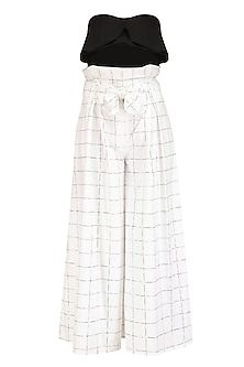 White Checkered Paper Bag Waist Culottes and Bralet Set by Nishka Lulla
