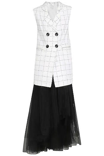White Checkered Blazer with Black High Low Skirt by Nishka Lulla