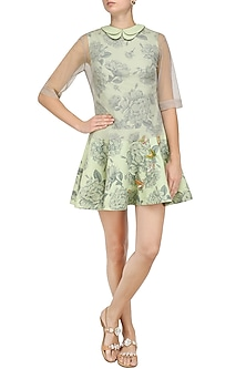 Mint Green Butterfly Embroidered Dress by Nishka Lulla