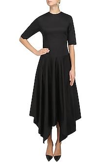 Black Elbow Sleeves Asymmetric Dress by Nishka Lulla