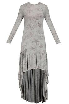 Grey Mogra Print High Low Dress by Nishka Lulla