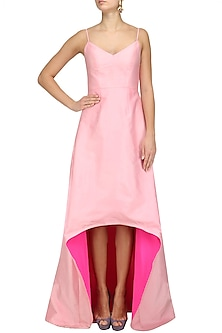 Rose Pink Strappy High Low Gown by Nishka Lulla