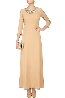 Beige Embroidered Cold Shoulder Long Dress by Nimirta Lalwani