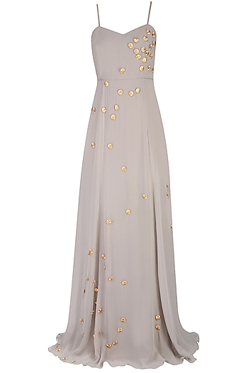 Silver and Gold Round Motifs Long Flared Gown by Nimirta Lalwani