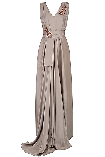 Grey Embroidered Long Flared Drape Gown by Nimirta Lalwani