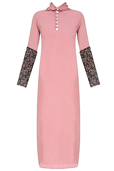 Rose Pink Sequins Embroidered Full Sleeves Dress by Nimirta Lalwani
