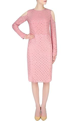 Rose Pink Cold Shoulder Knee Length Dress by Nimirta Lalwani