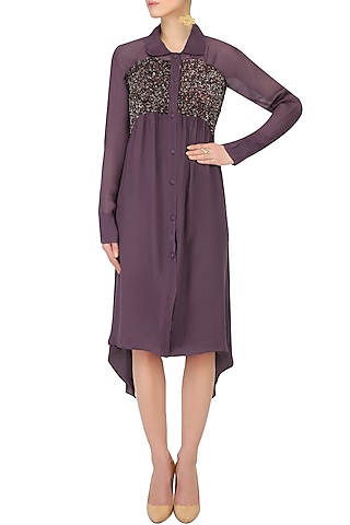 Purple Sequins Embroidered Shirt Dress by Nimirta Lalwani
