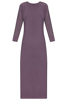 Purple Knee Length Dress With Mesh Sleeves by Nimirta Lalwani