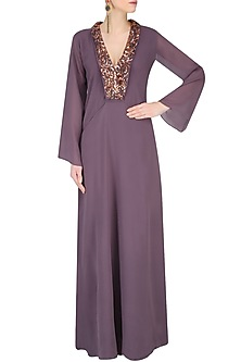 Purple Embroidered Kaftan Sleeves Gown by Nimirta Lalwani
