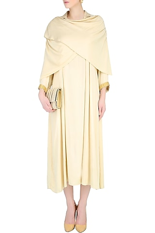 Cream Shawl Wrap Up Drape Dress by Nimirta Lalwani