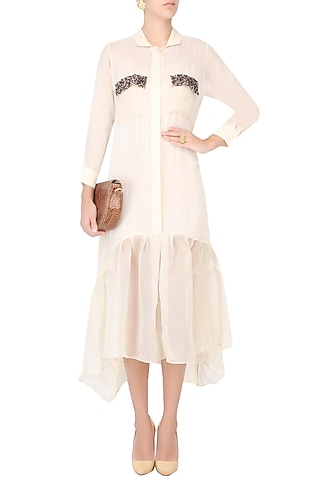 Cream Long Shirt Dress With Sequins Embellished Pockets by Nimirta Lalwani