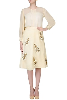 Cream Zardozi and Stone Embroidered Motifs Skirt and Top Set by Nimirta Lalwani