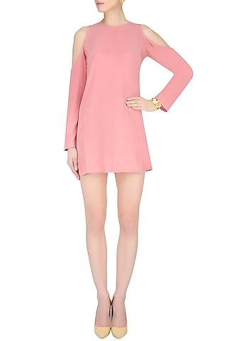 Rose Pink Cutout Shoulder Short Dress by Nimirta Lalwani