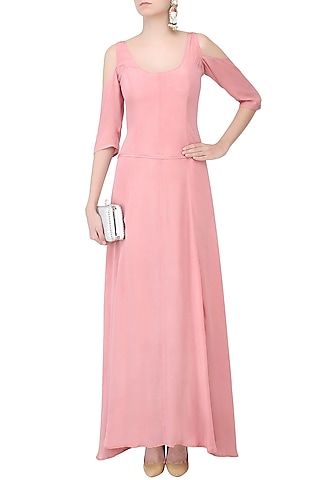 Rose Pink Cutout Shoulder Flared Gown by Nimirta Lalwani