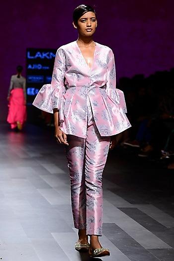 Rose Pink Mogra Print Cigratte Pants by Nishka Lulla
