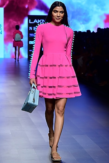 Hot Pink Pom Pom Tiered Dress by Nishka Lulla