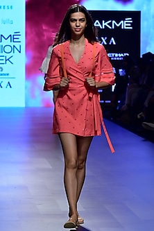 Coral Wrap Tie Up Romper by Nishka Lulla