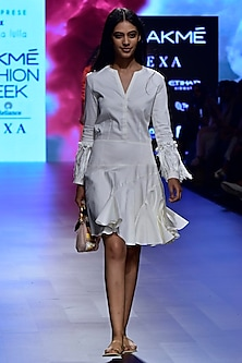 Ivory Lantern Sleeves Panelled Dress by Nishka Lulla