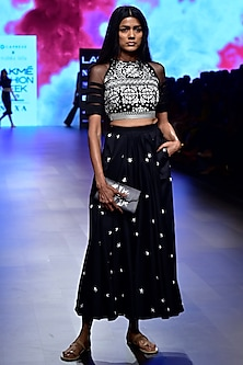 Black Embroidered Crop Top by Nishka Lulla