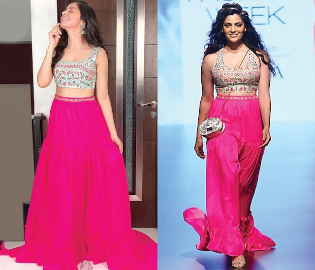 Aqua Blue Embroidered Croptop with Pink Tiered Maxi Skirt by Nishka Lulla