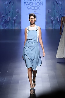 Blue cube denim dungaree with white mesh dress by Nishka Lulla
