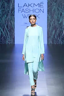 Sea green long top, double brested wrap jacket and palazzo pants set by Nishka Lulla