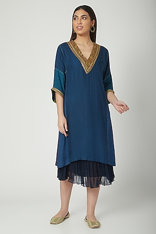 Cobalt Blue Embroidered Kurta With Skirt by Nida Mahmood