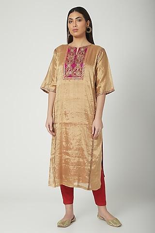 Gold Hand Embroidered Kurta Set by Nida Mahmood