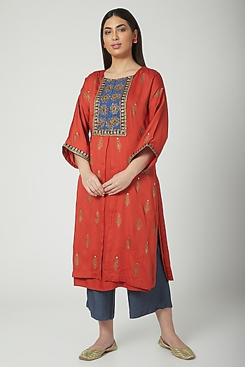 Red Printed & Embroidered Kurta Set by Nida Mahmood