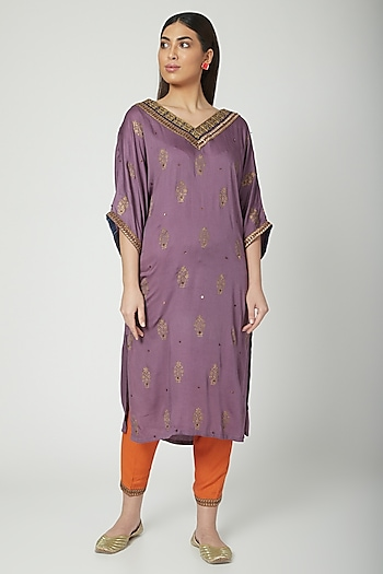 Mauve Printed & Embroidered Kaftan With Salwar  by Nida Mahmood