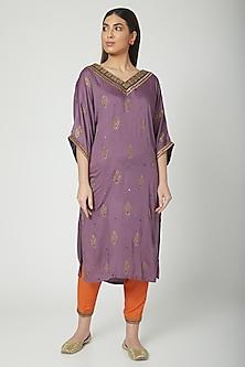 Mauve Printed & Embroidered Kaftan With Salwar  by Nida Mahmood