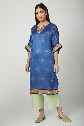 Cobalt Blue Block Printed & Embroidered Kurta Set by Nida Mahmood