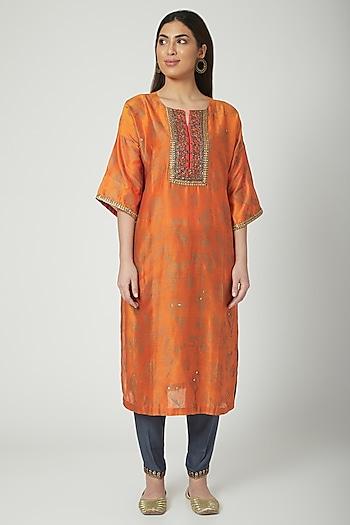 Orange Printed & Embroidered Kurta Set by Nida Mahmood