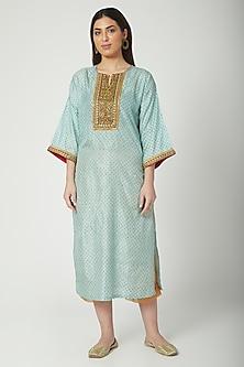 Mint Green Printed & Hand Embroidered Kurta Set by Nida Mahmood