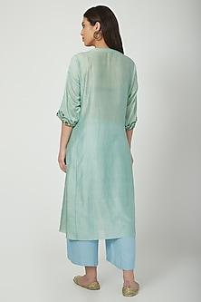 Mint Green Printed & Embroidered Kurta Set by Nida Mahmood