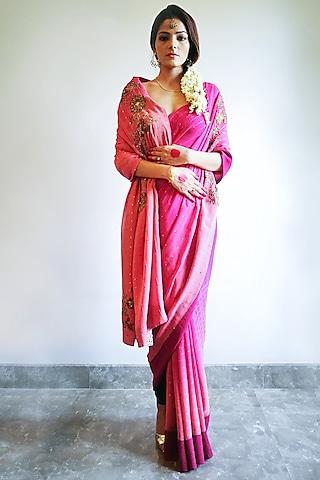 Pink Embroidered Printed Saree Set by Nida Mahmood