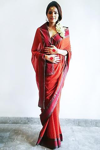 Rust Red Embroidered Saree Set by Nida Mahmood