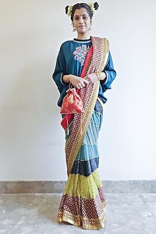 Multi Colored Embroidered Panelled Saree Set by Nida Mahmood