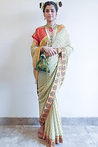 Beige Embroidered Saree Set by Nida Mahmood