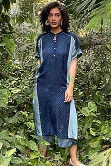 Indigo Blue Embroidered & Printed Kurta by Nida Mahmood