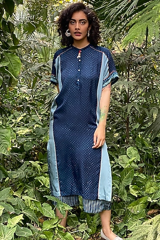 Indigo Blue Printed Loose Fit Culotte Pants by Nida Mahmood